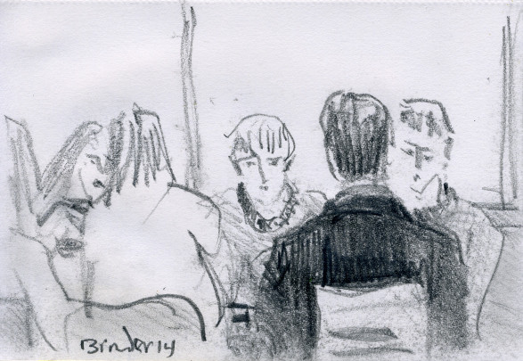 "Saturday Afternoon, Soho's Young Folks, graphite on paper,  6""x4,"" 2014, Gordon Binder"