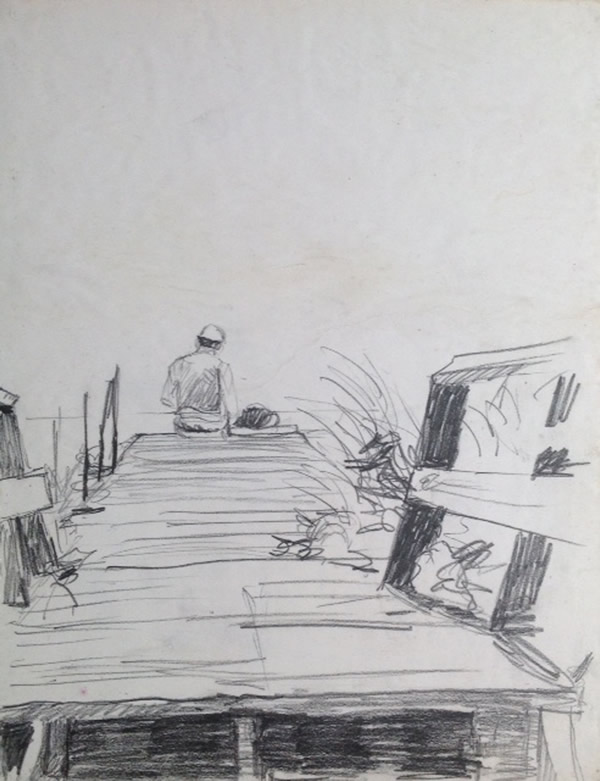 "Three Loves, the beach, drawing, and Gordon, Fire Island Vacation, from the sketchbook, Graphite on paper, 16""X14"", 1986"