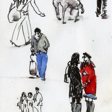 "Gestures (On the Street), ink with wash on paper, 6""x4,"" 2014 – FD-724"