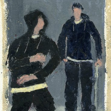 "Skateboarding Buddies, oil on paper, 10-1/4""x7,"" 2007 – FP-70"