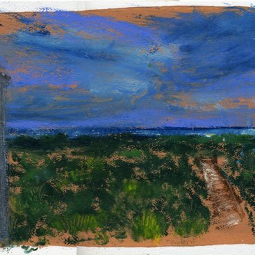 "Ocean View, Daybreak, Fripp, oil on paper, 10""x13,"" 2011 – LP-125"