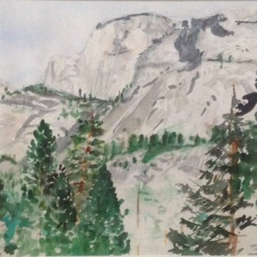 "Half Dome, Yosemite Valley, watercolor, 18""X24"", 1985"