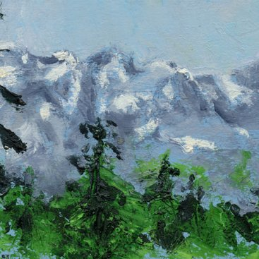 "On Aspen Mountain, oil on paper, 4""x5-3/4,"" 2003 – LP-107"