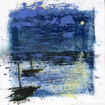 "Boats in Moonlight, oil on paper, 5""x5,"" 2008 – LP-31"