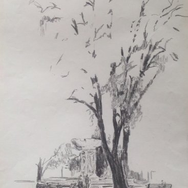 "DuPont Circle in the 80's, graphite, 24""X18"", 1982"