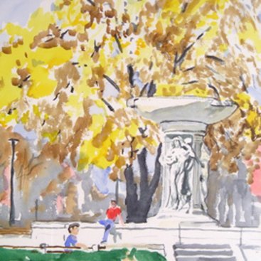 "Dupont Circle, watercolor, 16""X12"", Sept. 1983"