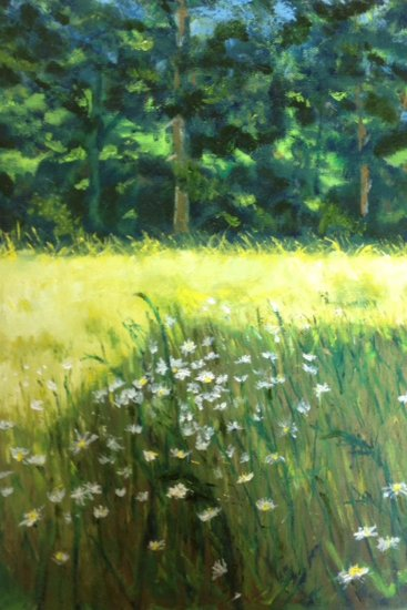 "Spring Virginia Pasture, oil on canvas, 17""X14"", 2013"
