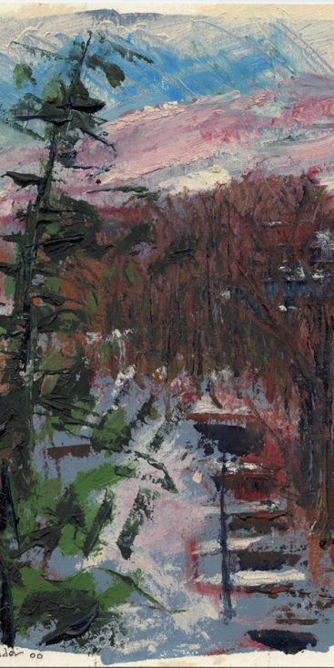 "Sunset From Back Window, oil on paper, 11-1/4""x9,"" 2000 – UP-38"