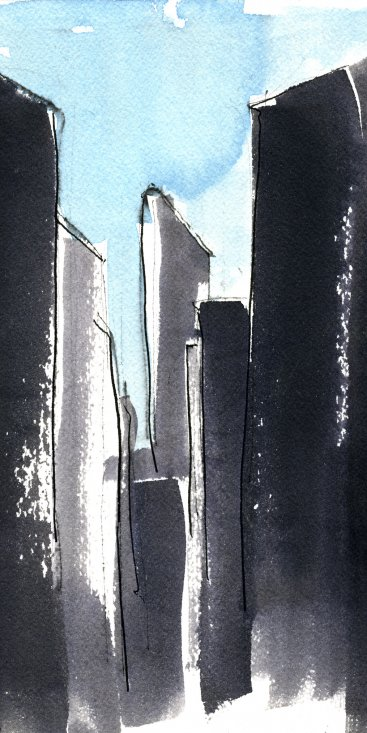 "Flat Iron 1, ink with wash on paper, 10-1/4""x7,"" 1997 – UD-23"