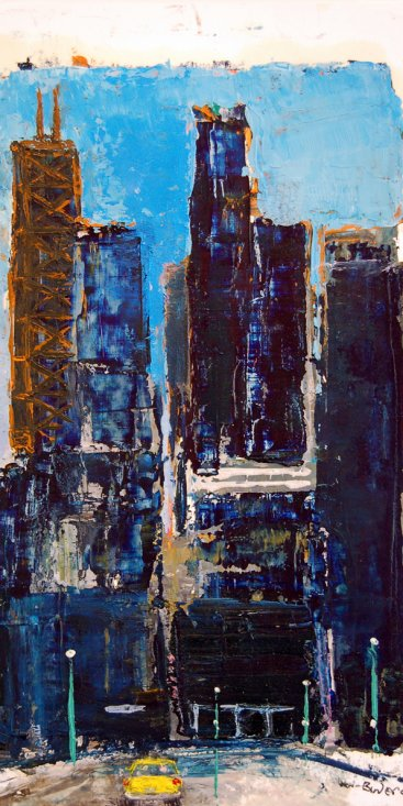 "Chicago, oil on paper, 8-1/2""x5,"" 2009 – UP-104"
