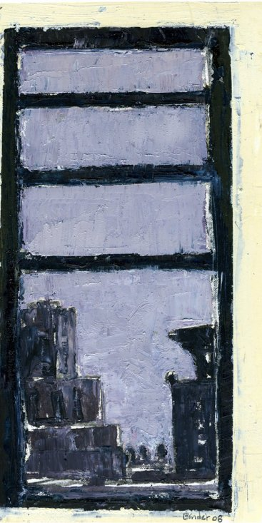 "New York Skyline III (from 336 West End Avenue, apartment 14C – north view)  oil on paper, 8-1/2""x5,"" 2008 – UP-3"