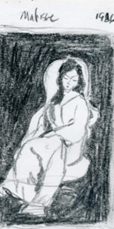 "Matisse woman, graphite, 7""X4.25"", 2002"