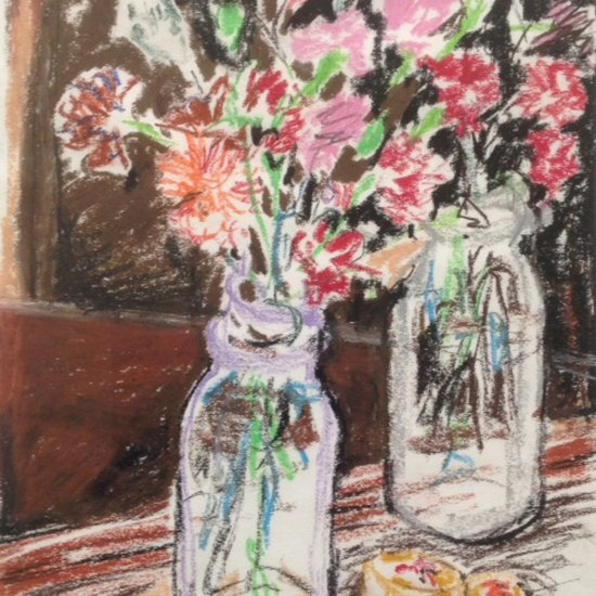 "Carnations, oil pastel, 11 ½""X9"", 1988"