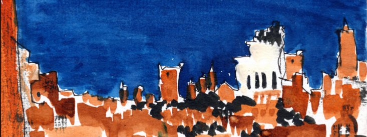 "Skyline of Rome (from Gerald's Apartment), ink with wash on paper, 4-1/2""x6,""  2000 – Fd-12"