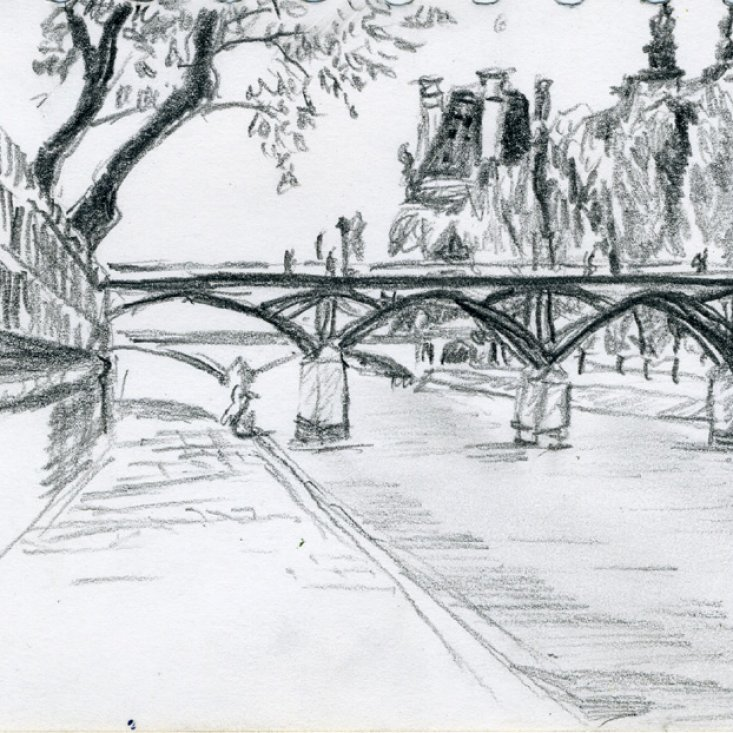 "Iron Bridge, graphite, 4.25""X7"", 2002"