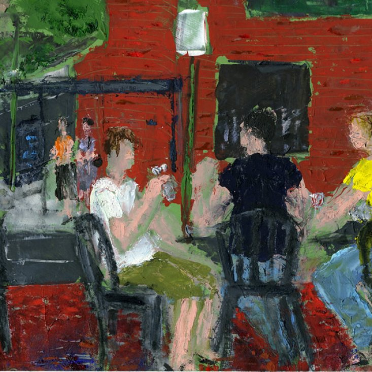 "Soho Crowd, oil on paper, 5-1/2""x8-1/2,"" 2010 – FP-321"