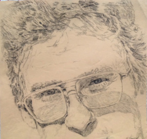 "Self Portrait, graphite, 17""X18"", 1996"