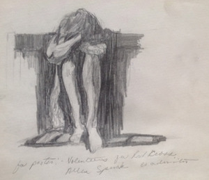 "Depression, Study for Poster, from the sketchbook, No. 2 pencil, 7""X8"", 1968"