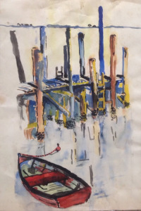 "Dock, Beaufort, SC, watercolor, 24""X18"", 1962"