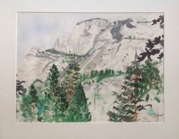"Half Dome, Yosemite, watercolor, 18""X24"", 1985"