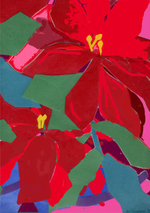 "Happy Holidays, Christmas Card 2011, collage, digitally enhanced colored paper, 8.5""X11"", 2011"