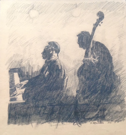 "Jazz- preparatory study for a watercolor, charcoal, 15""X14.5"", 1971"