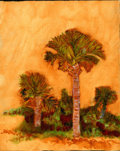 "Palmetto or Cabbage Palm, Florida's State Tree, oil on panel, 10""X8"", 2010  Sold"