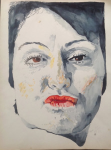 "Patty, watercolor, 24""X18"", 1982"