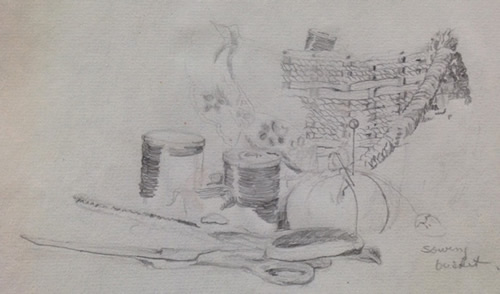 "Sewing Basket, (note that I spelled ""sowing"" wrong on the drawing), No 2 pencil, 8""X12"", 1961"
