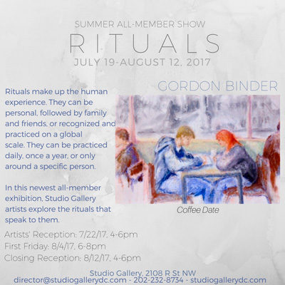 The flyer for Studio Gallery's summer show, Rituals; July/August 2017