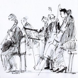 "BSO: Warming Up, ink on paper, 6""x5-1/2,"" 2011 – AD-130"