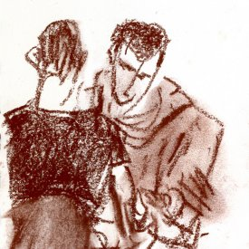 "Afternoon Out, conte crayon on paper,6""x3-14,"" 2008 – FD-723"
