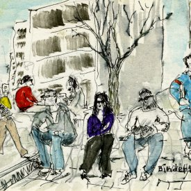 "Dupont Circle, Early Spring Afternoon, ink with wash on paper, 4""x6,""  2011 – FD-533"