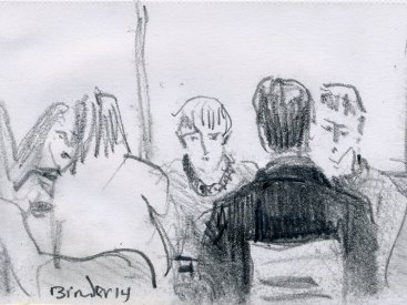 "Saturday Afternoon, Soho's Young Folks, graphite on paper,  6""x4,"" 2014 – FD-725"