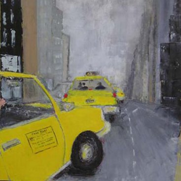 "Foggy Night New York, oil on canvas paper, 24""x20,"" 2003 – UP-77"