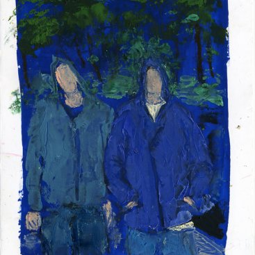 "Boys in the Hood (Rainy Sunday Morning), oil on canvas paper,  24""x20,"" 2011 – FP-339"