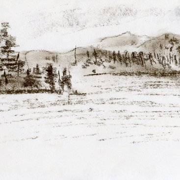 "On the Lake (Adirondacks), conte crayon on paper, 5-3/4""x10-1/4,""  2007 – LD-245"