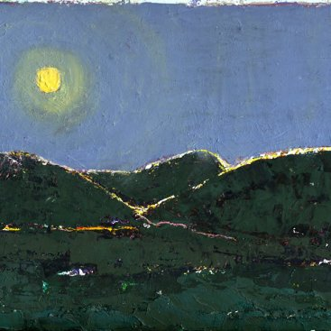 "Moonlight (Along the Roadside Outside Aspen, Colorado), oil on 300# watercolor paper with deckled edge, 9-1/2""x12,"" 2002 – LP-71"