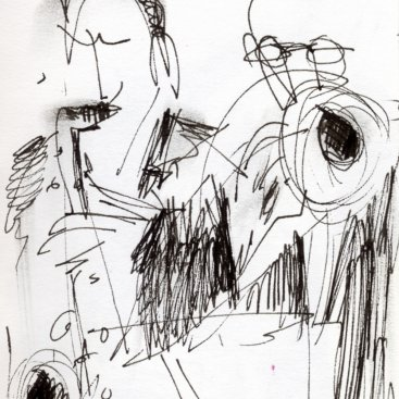 "Jazz at Fat Cats XIV, ink on paper, 6""x3-1/4"","" 2002 – AD-73"