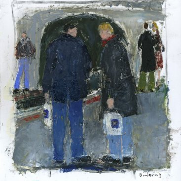 "Metro Riders (Equality. Now.), oil on paper, 6""x5-1/2,"" 2009 – FP-259"