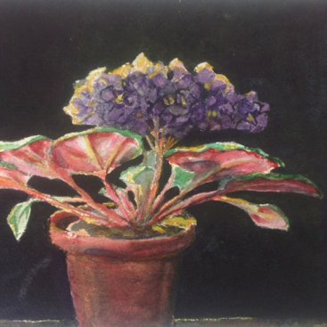 "Violets, watercolor, 7""X10 ¼"", 2006"
