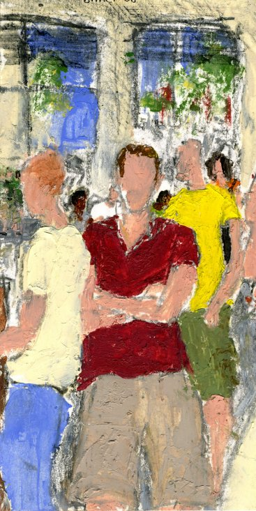 "In Line at Starbucks, oil on paper, 6""x3-1/4,"" 2008 – FP-18 SOLD"