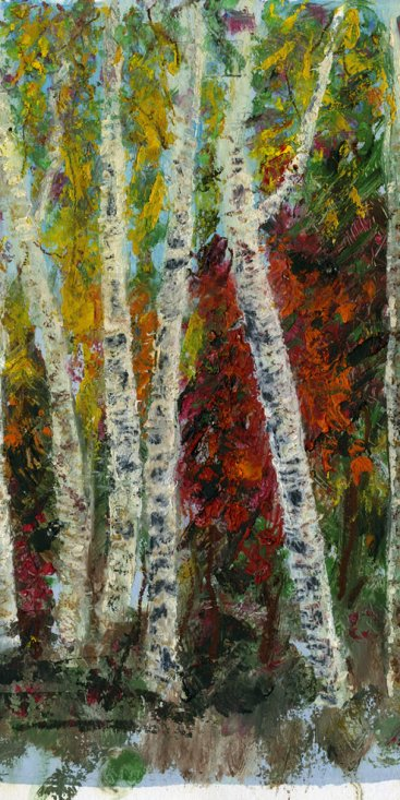 "Burst of Fall Colors Off the Dirt Road, Lac St. Germain, Quebec, oil on paper,  10""x13-3/4,"" 1999 – LP-60"