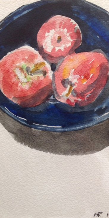 "Huddled in Blue Bowl, watercolor, 9""X5 ¾"", 1984"