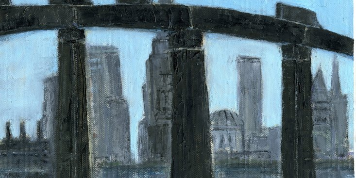 "New York: Under the Bridge, From the Train, oil on canvas paper,  9-1/2""x11-3/4,"" 2014 – UP-205"