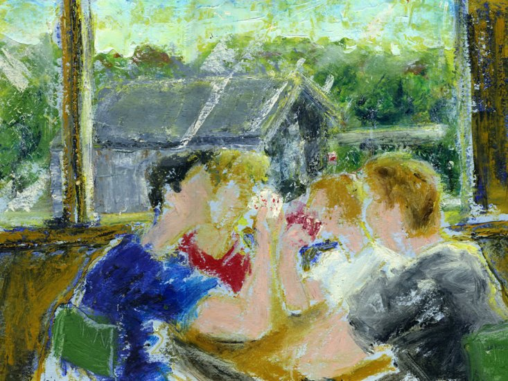 "The Card Players, oil on paper, 10""x13-1/2,"" 1999 – FP-78"
